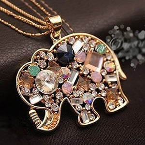 Multicolor Rhinestone Elephant Necklace - Eve Merch