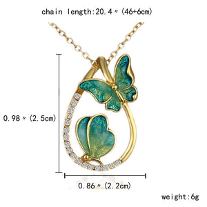 Fashion 2 butterfly Pendant Necklaces Water drop painting necklace - Eve Merch