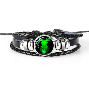 12 Zodiac Sign Black Braided Leather Bracelet in Constellation design - Eve Merch