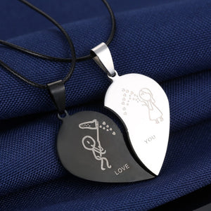 "Couples Jewelry Broken Heart ""LOVE YOU"" Necklaces - Eve Merch"