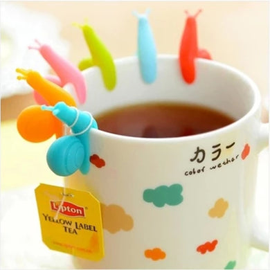 Cute Candy Colors 6 pcs/Set Snail Shape  Tea Bag Holder - Eve Merch