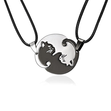 Couples Jewelry Necklaces Black & White Cat design - Eve Merch