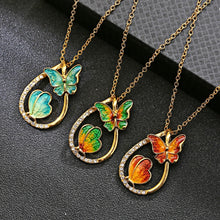 Load image into Gallery viewer, Fashion 2 butterfly Pendant Necklaces Water drop painting necklace - Eve Merch