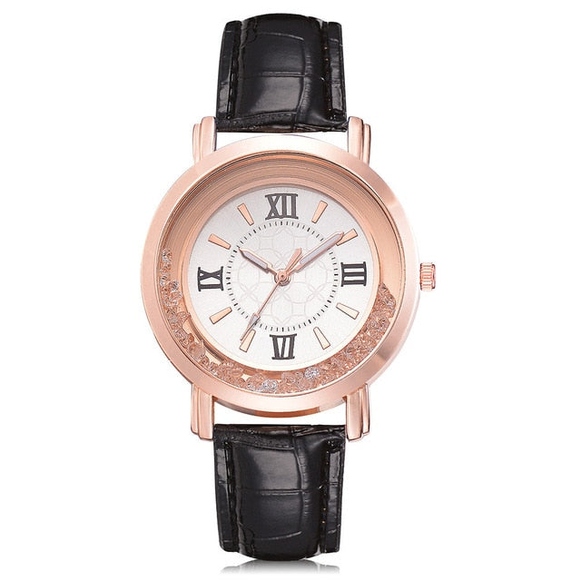 Ladies Watch with Rhinestone and Leather Bracelet Watch - Eve Merch