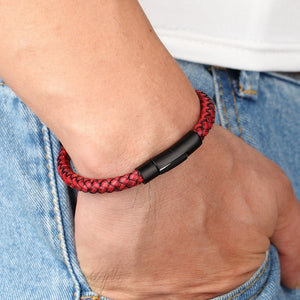 Classic Style Men Leather Bracelet with Stainless Steel Button - Eve Merch