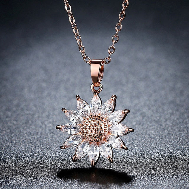 Big Sunflower Charm Necklaces Silver/Gold Color Stainless Steel Rhinestone Pendant - Eve Merch