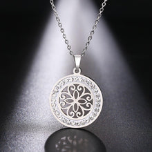 Load image into Gallery viewer, Stainless Steel Crystal Round Pendant Necklace - Eve Merch