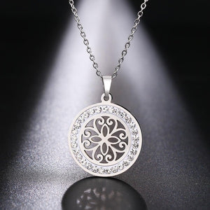 Stainless Steel Crystal Round Pendant Necklace - Eve Merch