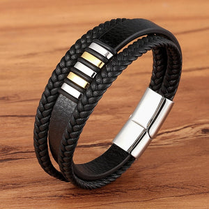 Genuine Leather Bracelet for Men with Steel Magnetic Button - Eve Merch