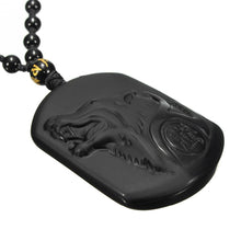 Load image into Gallery viewer, Natural Black Obsidian Carved Wolf Head OR Wolf Tooth style necklace - Eve Merch
