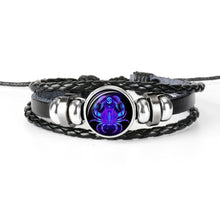 Load image into Gallery viewer, 12 Zodiac Sign Black Braided Leather Bracelet in Constellation design - Eve Merch
