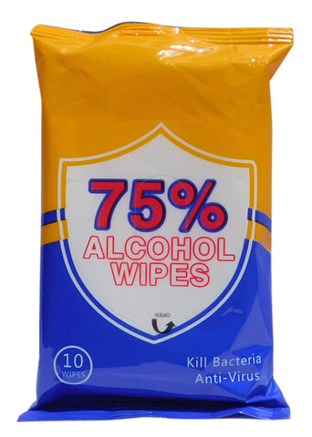 75% Alcohol DIsinfectant Wipes - Kills 99.99% of Germs - Pack of 10 Wipes