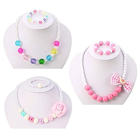 PinkSheep Kids Beaded Necklace and Bracelet 3 Sets, Little Girls Jewelry in Box, Favors Bags for Kids Flower sets