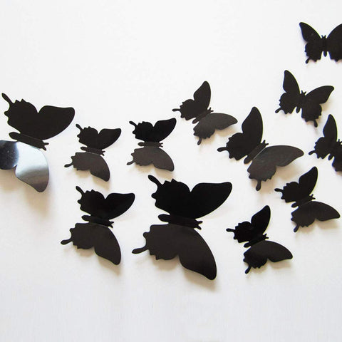 24pcs 3D Butterfly Removable Mural Stickers Wall Stickers Decal for Home and Room Decoration (Black) Black