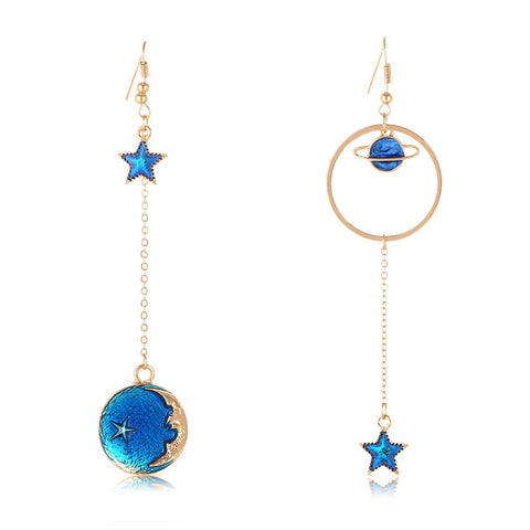 SUNSCSC Enamel Moon Star Earth Planet Drop Hook Earrings Long Pendant Dangle Jewelry for Woman Girls Long W757