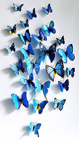 Amaonm 60 Pcs 5 Packages Beautiful 3D Butterfly Wall Decals Removable DIY Home Decorations Art Decor Wall Stickers & Murals for Babys Bedroom Tv Background Living Room (Blue) Blue