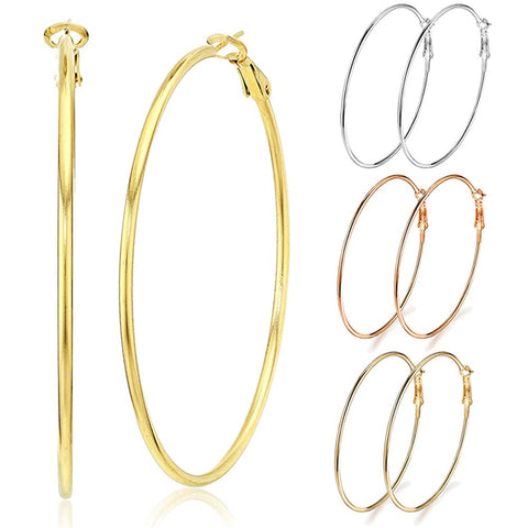 3 Pairs Big Hoop Earrings, Stainless Steel Hoop Earrings in Gold Plated Rose Gold Plated Silver for Women Girls 50mm