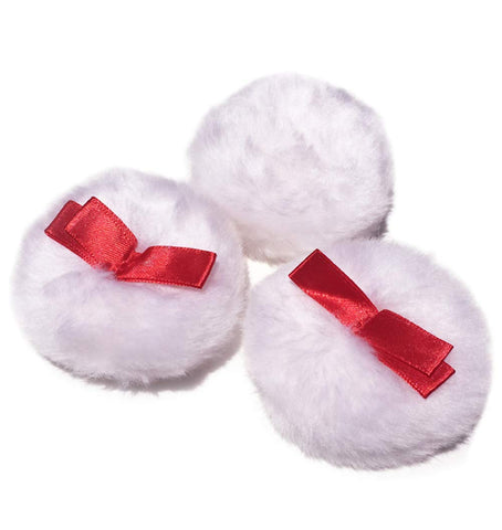 6pcs 3 Inch Large Fluffy Puffs Round Body Powder Puffs With Nylon Ribbon Portable Cotton Cosmetic Sponge Powder Puff For Face Body Loose Powder Baby After-bath Powder(Skin Color)