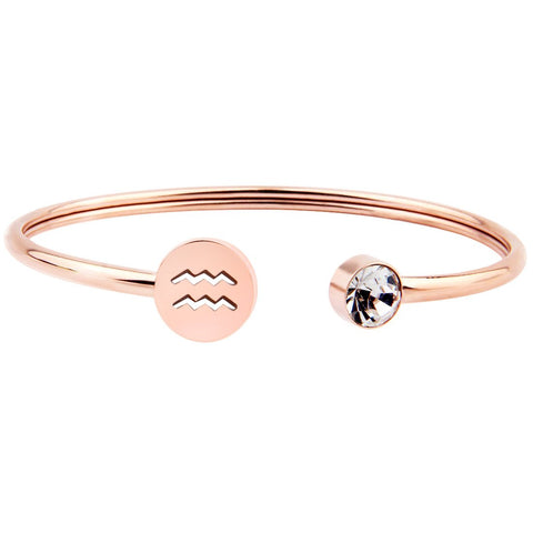 Zuo Bao Simple Rose Gold Zodiac Sign Cuff Bracelet with Birthstone Birthday Gift for Women Girls Aquarius