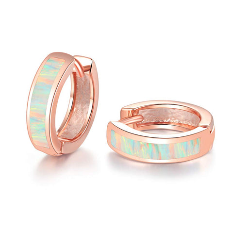 CiNily Huggie Earrings Opal Hinged Hoop Earrings Gold Plated Small Hoop Earrings for Women Girls Men Dainty Earrings Rose Gold+White