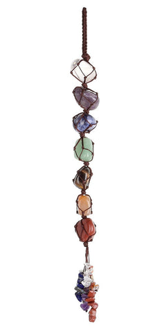 Top Plaza 7 Chakra Gemstones Reiki Healing Crystals Hanging Ornament Home Indoor Decoration for Good Luck,Yoga Meditation,Protection - Tumbled Palm Stones 7 Chakra Hanging Ornament - Tumbled Palm Stones
