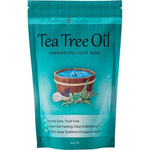 Tea Tree Oil Foot Soak With Epsom Salt, Refreshes Feet and Toenails, Soothes Dry Calloused Heels, Leaving Feet Feeling Soft, Clean and Healthy – Helps Soak Away Tired Feet -16oz (Pack of 1) Pack of 1