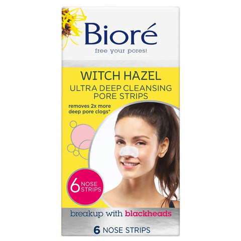 Bioré Blackhead Removing and Pore Unclogging Ultra Deep Cleansing Pore Strip with Witch Hazel, Cruelty Free, Vegan, Oil-Free & Non-Comedogenic, Great for Acne Prone Skin (6 Count) (Packaging May Vary) 6 count