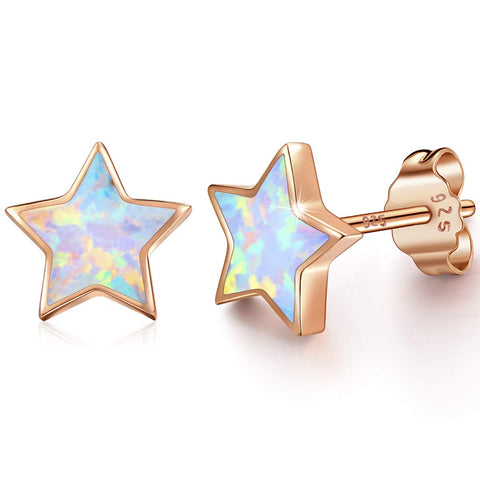 Rose Gold Star Earrings for Girls, Hypoallergenic Fire Opal Stud Earrings For Women ARSKRO S925 Sterling Sliver Little Small Tiny Cute Earring Jewelry Gifts for Sensitive Ears Toddlers Kids B-Rose Gold Plated-White Opal