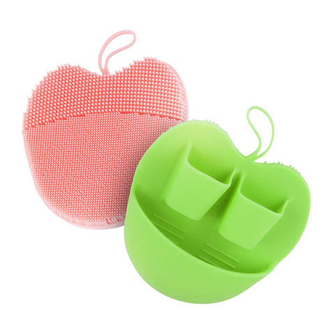 INNERNEED Silicone Facial Scrubber Face Brush Pads for Cleansing, Exfoliating, Makeup Removal Brush, Anti-Aging Face Massage, Handheld (Pink + Green) Green+pink