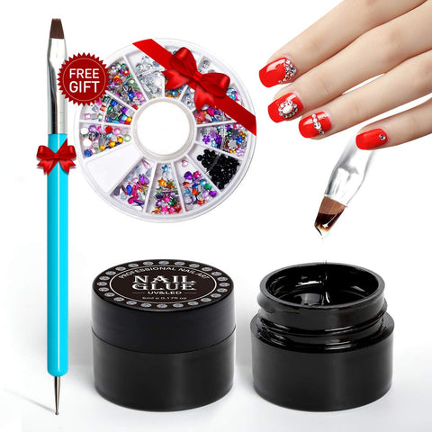 Nail Art 5ml Nail Glue Gel 2pcs Adhesive Resin Gem Jewelry Diamond Gel Nail Polish Clear Decoration With Dual-Use Pen Tools (UV Light Cure Needed) With Gift Nail Crystal Rhinestone