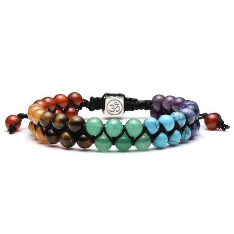 Jovivi Bead Chakra Bracelet - 6mm 8mm Healing Crystal Bracelet Natural Lava Rock Stone Bracelets Men Stress Relief Yoga Beads Essential Oil Diffuser Bracelets 7 Chakras Anxiety Bracelet for Women 6mm 7 Chakra Double Layer Beads