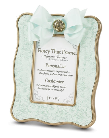 "Bearington Fancy That Frame, Teal Vintage Damask Magnetic Photo Frame, 4"" x 6"""