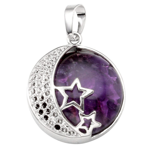Jovivi Natural Gemstones Moon and Star Healing Crystal Chakra Pendant Necklace with 21.5in Stainless Steel Chain Amethyst