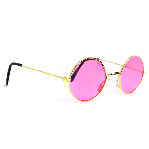 Skeleteen John Lennon Hippie Sunglasses - Pink 60's Style Circle Glasses - 1 Pair