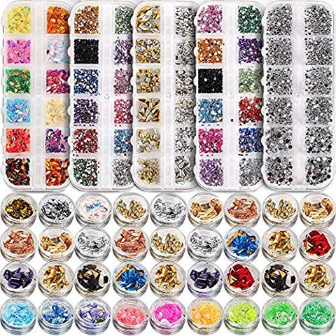 5 box 11440pcs Nails Rhinestones and 36 Pots Foils Flakes, Teenitor professional Nail Decoration with Gems for Nails Stud Foil for Nails Art 5 boxes Nail Art Rhinestones& 3 box nail foil chip