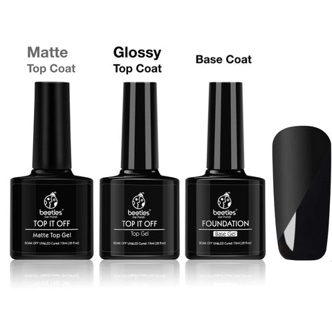 Beetles Matte Top Coat and High Gloss Top Gel Coat Base Coat Set - No Wipe top Coat, Gel Nail Polish Matte Shine Finish and Long Lasting, Soak Off UV LED Gel, 7.5ml Each Bottle Matte Gloss Top Base Coat