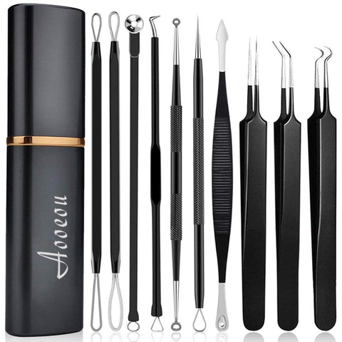 pimple popper tool- Aooeou 10 Pcs Professional Pimple Comedone Extractor Tool Acne Removal Kit -Treatment for Pimples, Blackheads, Blemish, Zit Removing, Forehead and Nose