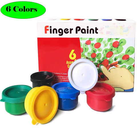 Magicdo 6 Colors Finger Paints, Non Toxic Washable Finger Paint for Toddlers, 6 X 35 ml (1.18 fl.oz) 6 cols