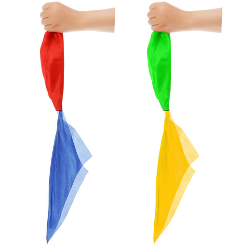 Hestya Magic Scarves Color Changing Silk Hanky Magic Props Scarf for Magic Trick Streets Toys (2 Pieces) 2 Pieces