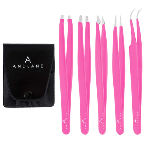 Andlane Tweezers Set - Professional Stainless Steel 5-Piece Precision Tweezer for Men & Women - Great for Facial Hair Removal, Eyebrow Shaping, Splinters & Ingrown (Pink)