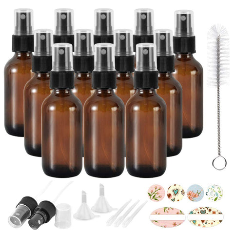 12 Pack 2oz 60 ml Amber Glass Spray Bottles with Fine Mist Sprayer & Dust Cap for Essential Oils, Perfumes,Cleaning Products.Included 1 Brush,2 Extra Sprayers,2 Funnels,3 Droppers & 24 Labels.