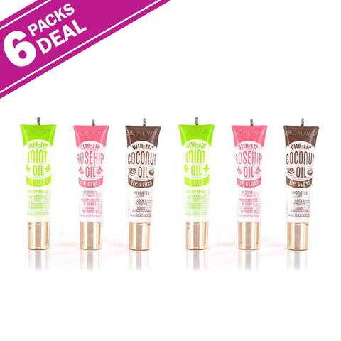 6-PACKS Kiss Broadway Clear Lip Gloss (Mint,Coconut,Rosehip Oil) Mint,Coconut,Rosehip Oil