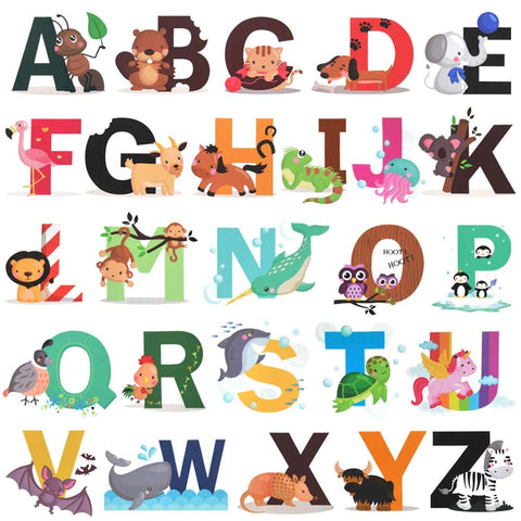 Alphabet Wall Decals, H2MTOOL Removable Animal ABC Wall Stickers for Kids Nursery Room Decor (Alphabet) Alphabet