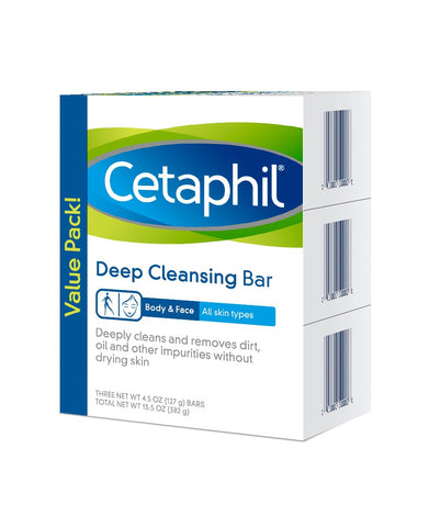 Cetaphil Deep Cleansing Face & Body Bar for All Skin Types, 3 Count Pack of 3