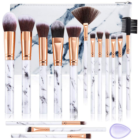 ALLFY Makeup Brushes Set Premium Synthetic Foundation Powder Concealers Blending Eye Shadows Face Make Up Brush Sets 15 Pcs Marble with Cosmetic Bag Silicone Puff