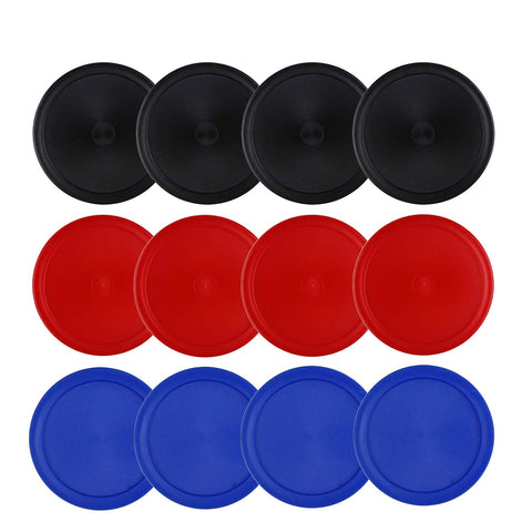 Kasteco 12 Pack 2.5 Inch Air Hockey Pucks for Small Size Table, 3 Colors, Red, Blue and Black