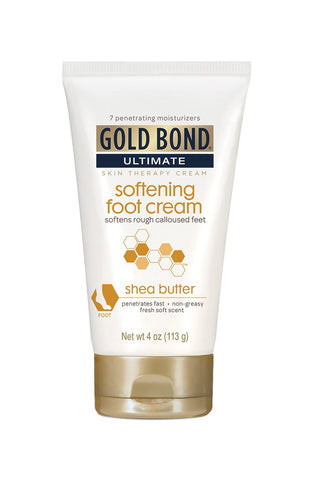 Gold Bond Ultimate Softening Foot Cream with Shea Butter, 4 Ounce, Leaves Rough, Dry, Calloused Feet, Heels, and Soles Feeling Smoother and Softer, Includes Vitamins A, C, E, and Silk Amino Acids Pack of 1