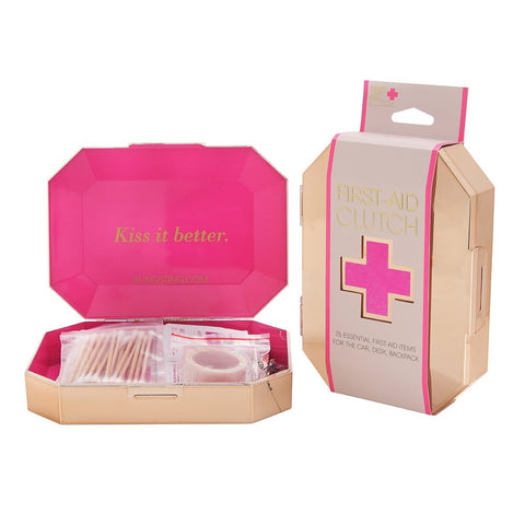 BLINGSTING First-Aid Clutch - 75 Essential Emergency Items - First-Aid Kit, Metallic Rose Gold Travel Case