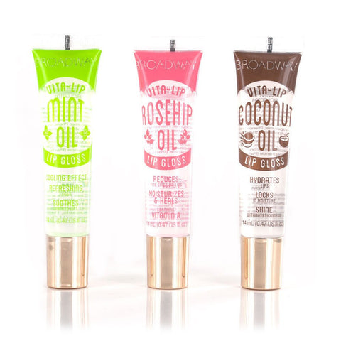 Broadway Vita-Lip Clear Lip Gloss 0.47oz/14ml (3PCS - Mint & Coconut & Rosehip Oil) 3PCS - Mint & Coconut & Rosehip Oil
