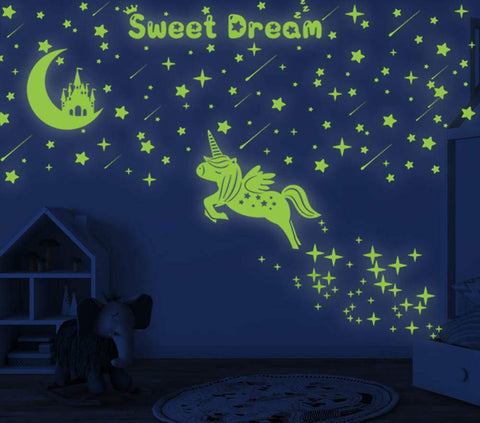 353 PCS Glow in Dark Stars and Moon Castle, Glowing Unicorn for Ceiling and Wall Decals, Kids Bedding Room or Party Birthday Gift Original version